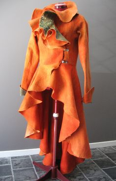 Designer silk fantasy riding jacket, fine merino, earthy colours, green and orange