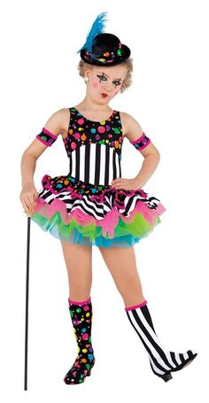 Hologram polka dot and striped lycra shortie unitard. Separate flo-cerise, lime and turquoise tricot tutu AND hologram polka dot and striped lycra skirt. Fabric headpiece, plume, arm bands and boot covers