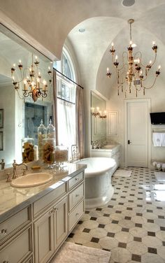 Such a grand bathroom.  Wouldn't it be even cooler with invisible speakers in the ceilings? Amina Technologies has the answer.