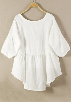 White Plain Hem Irregular Loose Cotton Blend Blouse - Blouses - Tops