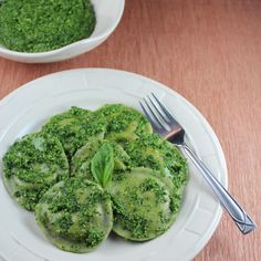Green Raviolis (Homemade Basil Pasta Dough with Herbed Cheese Filling topped with Kale Pesto)