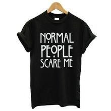 snowshine   2001 Jaro Léto Ženy T Shirt normální lidé mě vyděsit Letter  černobílého tisku trička 0e8b4bceae5