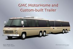 A gallery of paint designs for the GMC motorhome created by Byron Songer Airstream Rv, Gmc Motorhome, Classic Gmc, Classic Cars, Gmc Motors, Automobile, Ford, Victoria, Rv Trailers