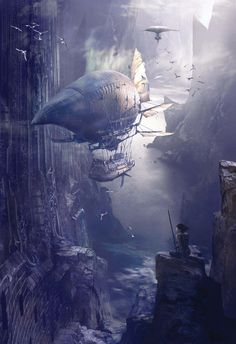 Steampunk digital art of Stephan Martiniere - fantasy art Steampunk Kunst, Steampunk Airship, Dieselpunk, Zeppelin, Cyberpunk, Fantasy Places, Fantasy World, Fantasy Kunst, Fantasy Art