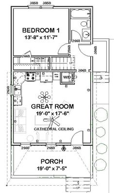 Nice floor plan - with a bedroom on the first floor, I would not need a second floor. The stairs could become a closet and a stacked washer dryer opening onto the entry. The Plan, How To Plan, Small Cottages, Cabins And Cottages, Small House Plans, House Floor Plans, Shotgun House Plans, Plan Chalet, Bedroom House Plans
