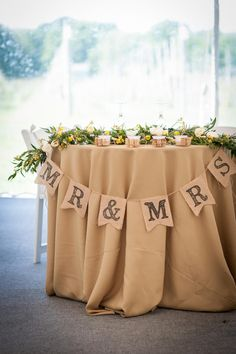 """Burlap """"Mr. and Mrs."""" Sweetheart Table Decor 