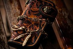 Handmade Skull leather biker trucker wallet leather chain men Brown Black Carved Tooled wallet