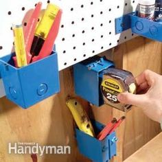 Junction boxes hold a variety of tools and gear. Lots of extra storage/organising ideas for she'd.