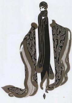 Erté - Illustration - Costume - Aileen Pringle dans 'The Mystic' - 1925 Art Deco Illustration, Belle Epoque, Moda Art Deco, Erte Art, Art Deco Stil, Art Deco Posters, Art Deco Artwork, Guache, Design Poster