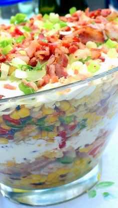 Inspired By eRecipeCards: Cowboy Cornbread Trifle - A Savory BACON Side Dish! - 52 Church Potluck Side Dishes (And BBQ Side) #Food-Drink