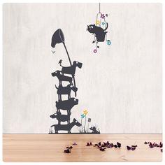 #Wandsticker mit #Katze Friedegunde und den #Hunden. #Wandtattoo
