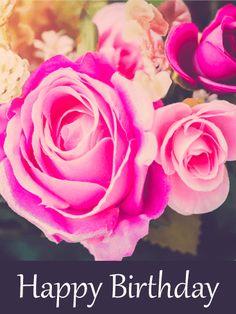 Superb Pink Rose Birthday Card