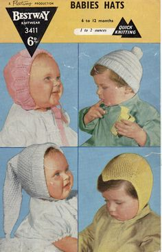 1950s Babies hats/bonnets/helmets  4 styles  6 to 12 by Hobohooks, £1.20