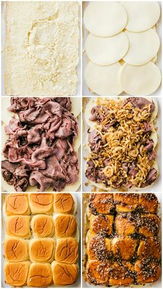 The best possible version of French Dip sandwiches -- made into SIMPLE oven-bake., The best possible version of French Dip sandwiches -- made into SIMPLE oven-baked sliders with a delicious buttery topping! via chelseasmessyapro. Mini Sandwiches, Steak Sandwiches, Funeral Sandwiches, Roast Beef Sliders, Oven Sliders, Roast Beef Hawaiian Roll Sliders, Philly Cheese Steak Sliders, Oven Baked Sliders Recipe, Appetizer Recipes