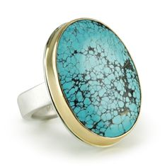 Vertical Oval Turquoise Ring
