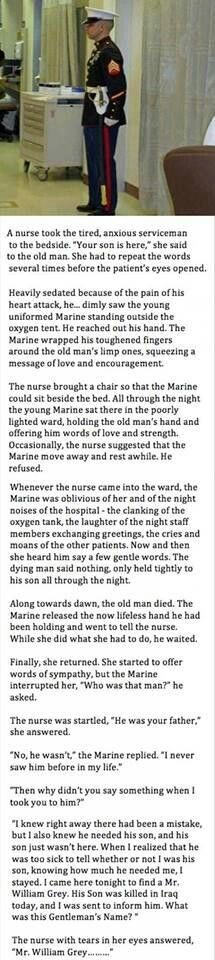 I don't know if this story is true but it is representative of the devotion of Marines to each other and their families.
