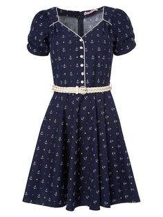 Trollied Dolly Buttoned tea dress Dark Navy £33.00 AT vintagedancer.com