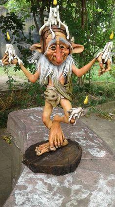 Adore this fella ! Sculpture Clay, Sculptures, Trolls, Kobold, Dragons, Elves And Fairies, Polymer Clay Dolls, Fairy Dolls, Fairy Land