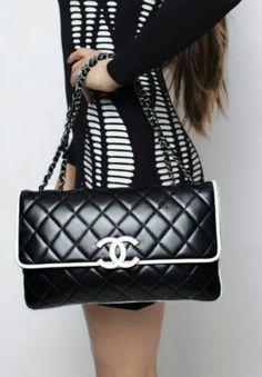 Chanel Black & White Cruise Maxi Flap Bag