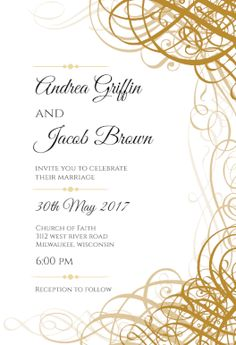 Delicate Twirls Printable Invitation Template Customize Add Text And Photos Print Download Greetingsisland Free Wedding