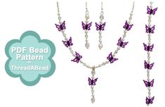 Bead Pattern: Butterfly and Pearl Jewellery Set by ThreadABead