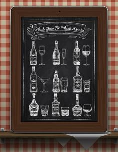 Verre Menu-Bar-Glasses-Which Art-Alcohol par TimelessMemoryPrints
