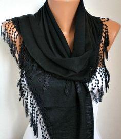 Lace Scarf   scarf shawl  Sale scarf  Free scarf  Black  by anils, $18.00
