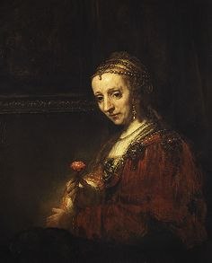 Woman with a Pink, early 1660s Rembrandt (Rembrandt van Rijn) (Dutch, 1606–1669)