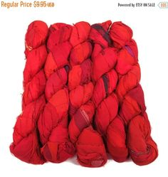 SALE Recycled Sari Silk Ribbon, 100g skeins , Passion Red