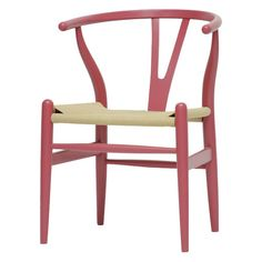 Pink-hued wood accent chair with a woven hemp seat.      Product: Chair    Construction Material: Wood and hemp...