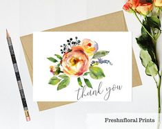 Floral thank you card Printable thank you card Baby shower Bridal Shower Cards, Baby Shower Cards, Wedding Invitation Suite, Wedding Stationery, Printable Thank You Cards, Writing Paper, Anniversary Cards, Birthday Cards, Greeting Cards