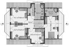 Rzut poddasza projektu Zoja Hera - murowana – beton komórkowy House Plans, Floor Plans, How To Plan, House 2, House Floor Plans, Floor Plan Drawing, Home Plans