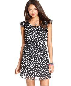 BeBop Dress, Cap Flutter Sleeve Heart-Print Chiffon - Juniors Dresses - Macy's  Such a sweet dress!