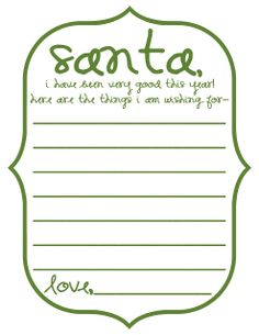 Mommy by day Crafter by night: Free Printable: Dear Santa Letterform