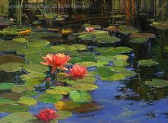 Lilies on Water - Oil by Kathryn Stats