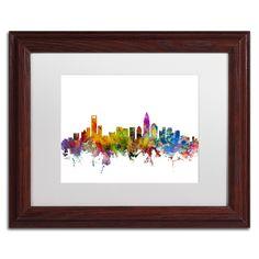 Michael Tompsett 'Charlotte North Carolina Skyline' Matte, Wood Framed Canvas Wall Art