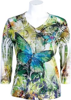 "Jess N Jane ""Butterfly Forest"" Ladies Sublimation Burnout Top 