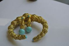 ESTATE 18kt GOLD BANGLE BRACELET R. SIMANTOV DESIGNER WITH EARRINGS 123grams