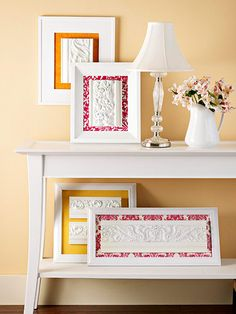 DIY: Fill a frame with scrapbook paper and apply scraps of decorative blocks with Mirror Mastic adhesive directly to the frame's glass.