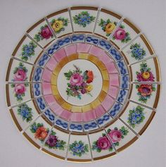 """China Mosaic Tile Set 7 3/4"""" Arrangement Design Shabby Dresden Flower Pink Rose Gold Stained Glass Tesserae Broken Plate Mosaic Art Supplies"""