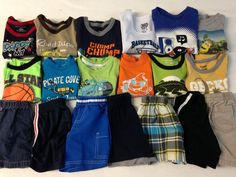 19 Piece Lot of Boys Clothes Summer Clothes Shirts and Shorts Size 18M 18 Months | eBay