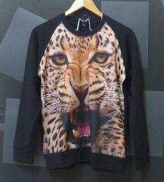Leopard tiger face animal Long sleeve Crewneck by CuteClassic, $24.00