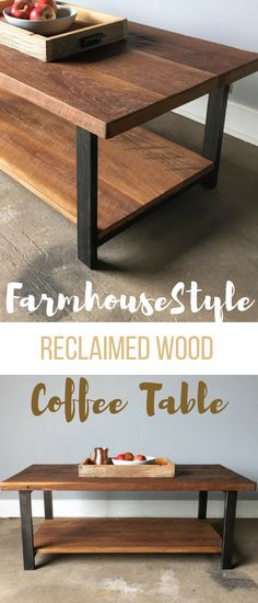 Farmhouse Style Rustic Decor Coffee Table With Lower Shelf / Industrial Reclaimed Wood #coffeetable #husbandproject #farmhousestyle #rustictable #rusticdecor #industrialtable #affiliate #farmhousedecor #woodworkingproject