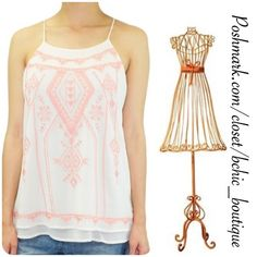 Arizona Sunset Racerback Tank Top Beautiful Arizona Racerback top. Great with jeans, leggings, pants and cute sandals!  Pink embroidery  Double layer  Spaghetti straps   100% polyester.  See size chart for measurements - This listing is for SMALL  Bundle 2+ and save 15%! Blu Pepper Tops