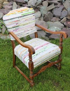 Selvage Chair by Judy Kelly at Canadian Quilting : she used selvages to re-cover her  grandmother's chair