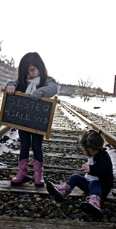 Sister for sale! #Sisters #photography #siblings #railroad #tracks #children