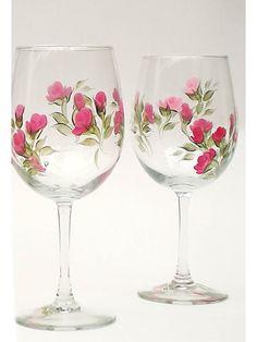 Bridesmaid+Wine+Glasses++Elegant+Hand+Painted+by+HandPaintedPetals,+$55.00