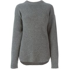 Alexander Wang Crew Neck Sweater ($386) ❤ liked on Polyvore featuring tops, sweaters, grey, ribbed crew neck sweater, alexander wang sweaters, grey sweater, long sleeve tops and gray sweater