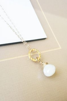 Gold Moonstone Necklace, Moonstone Necklace, Dainty Moonstone Necklace, Bohemian Jewelry - pinned by pin4etsy.com