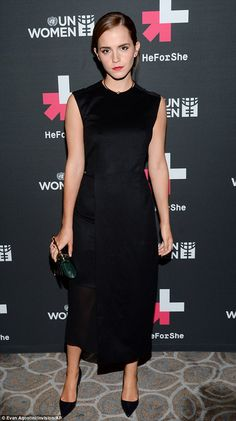 Evening chic: Emma changed into a sophisticated black frock for the event party held at The Peninsula Hotel
